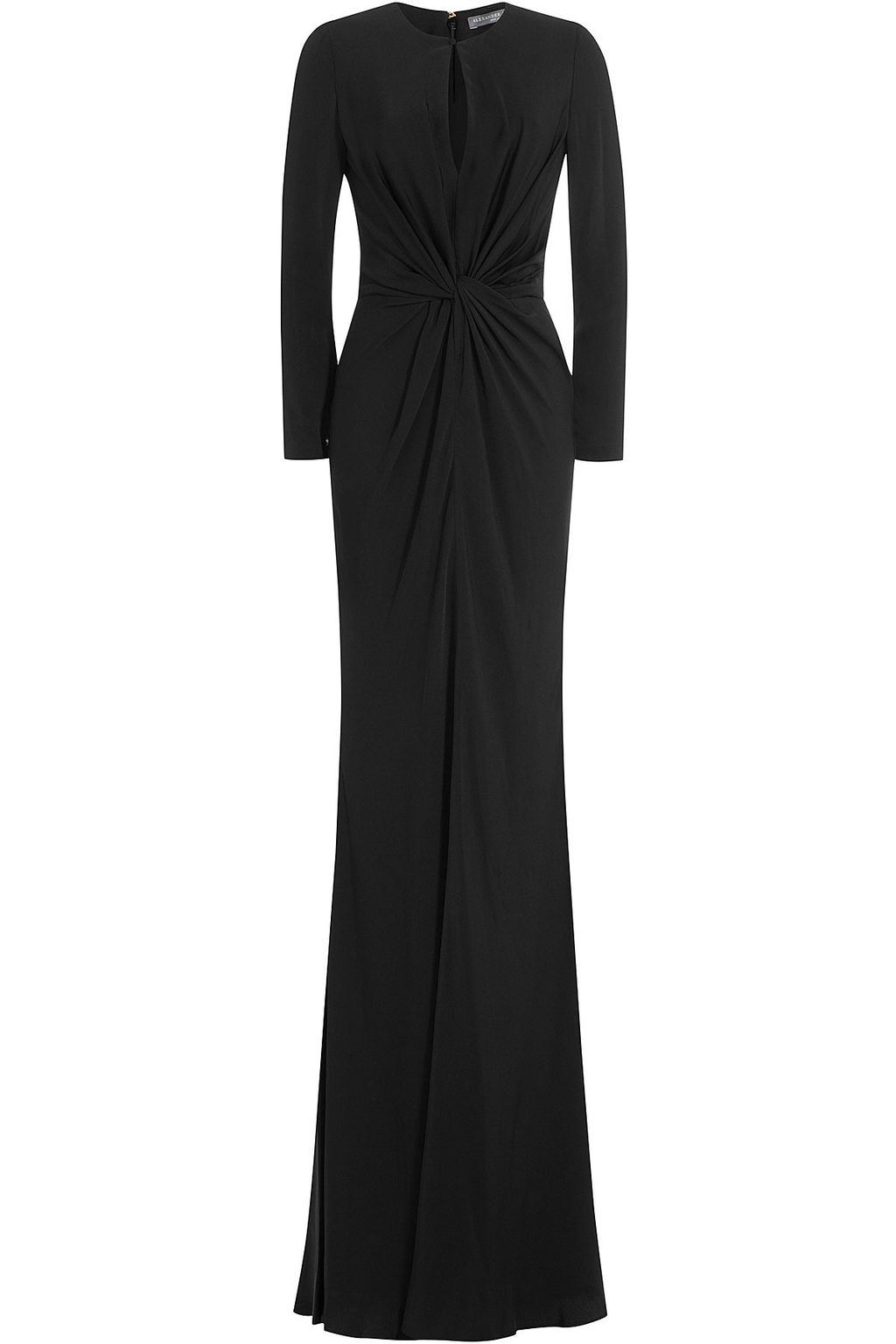 Draped Floor Length Gown - style: ballgown; pattern: plain; predominant colour: black; occasions: evening; length: floor length; fit: body skimming; neckline: peep hole neckline; fibres: viscose/rayon - 100%; sleeve length: long sleeve; sleeve style: standard; pattern type: fabric; texture group: jersey - stretchy/drapey; season: s/s 2016; wardrobe: event