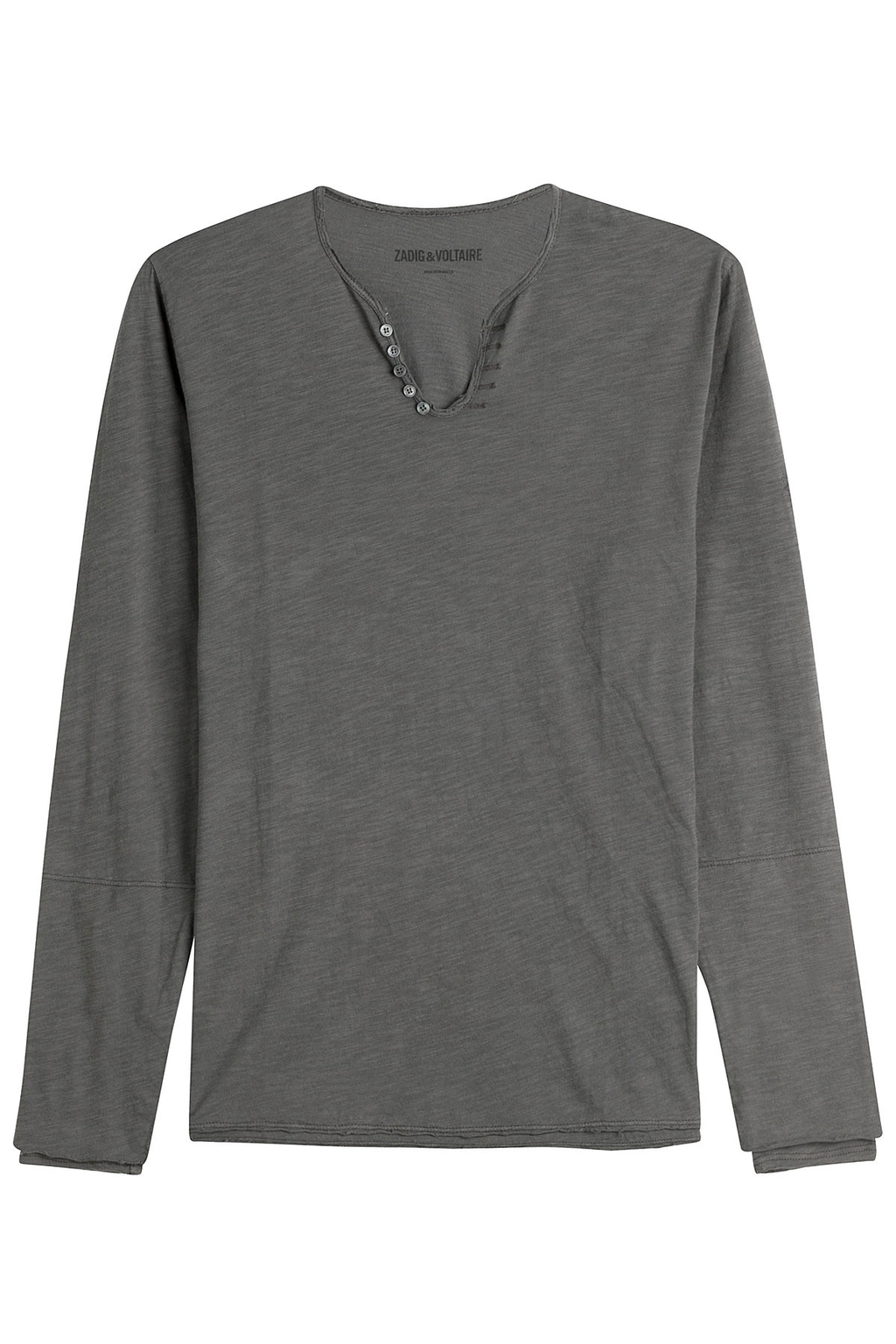 Nastir Light Slub Cotton Top - neckline: v-neck; pattern: plain; predominant colour: mid grey; occasions: casual; length: standard; style: top; fibres: cotton - 100%; fit: body skimming; sleeve length: long sleeve; sleeve style: standard; texture group: jersey - clingy; pattern type: fabric; season: s/s 2016; wardrobe: basic