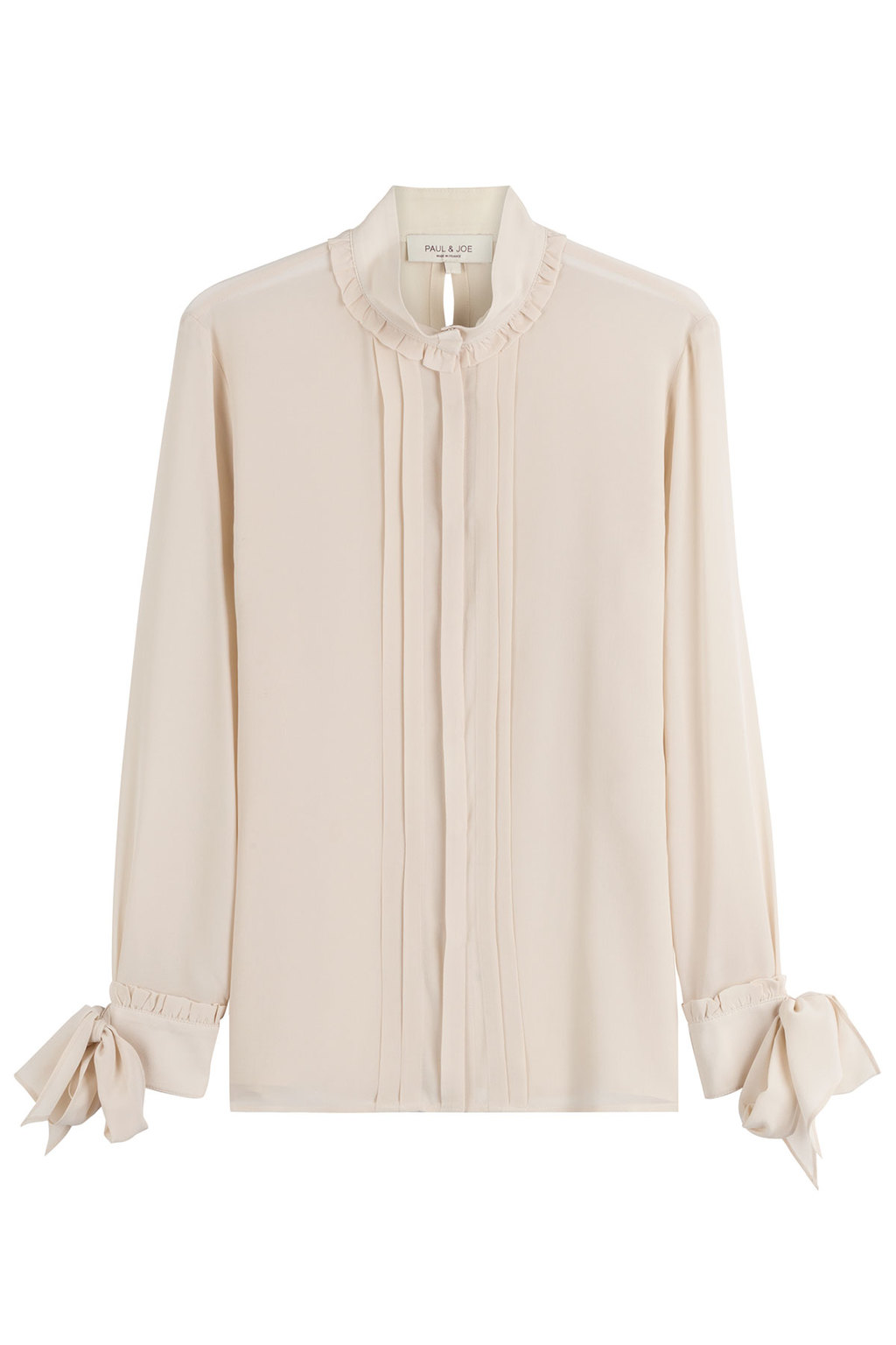 Silk Blouse - pattern: plain; neckline: high neck; style: blouse; bust detail: subtle bust detail; predominant colour: ivory/cream; occasions: evening, work; length: standard; fibres: silk - 100%; fit: body skimming; sleeve length: long sleeve; sleeve style: standard; texture group: crepes; pattern type: fabric; season: s/s 2016; wardrobe: basic