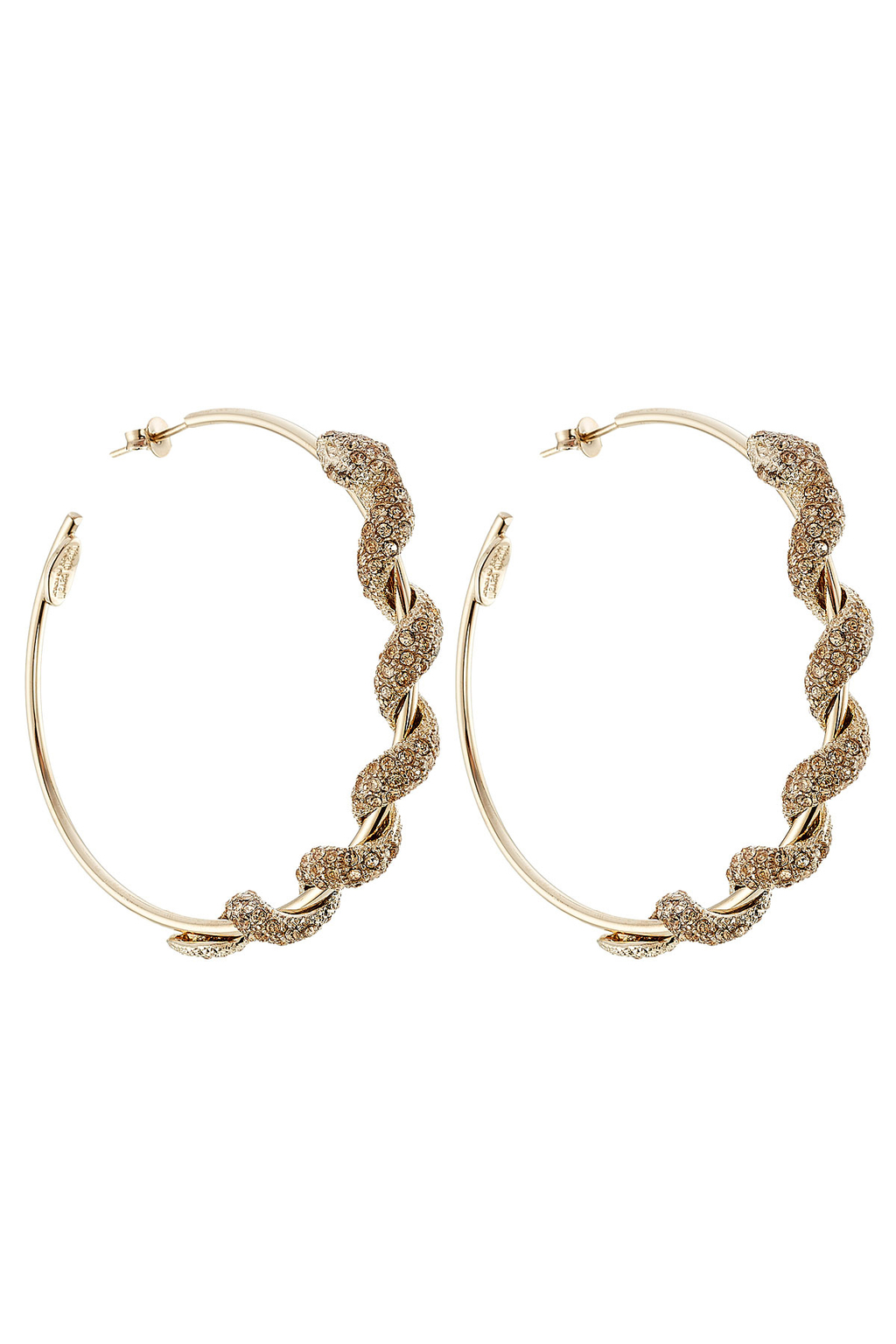 Embellished Hoop Earrings Gold - predominant colour: gold; occasions: evening; style: hoop; length: mid; size: large/oversized; material: chain/metal; fastening: pierced; finish: plain; season: s/s 2016; wardrobe: event