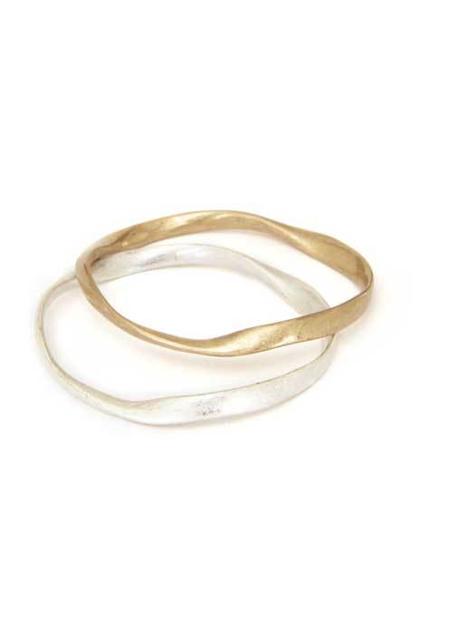 Gold And Silver Bangle Set - secondary colour: silver; predominant colour: gold; occasions: casual; style: bangle/standard; size: standard; material: chain/metal; finish: metallic; multicoloured: multicoloured; season: s/s 2016; wardrobe: basic