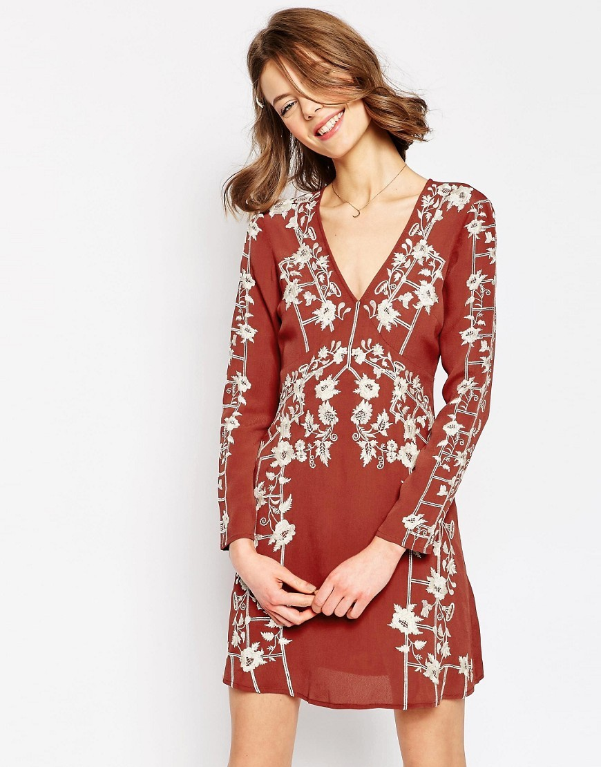 Garden Trellis Embroidered Dress Multi - style: shift; length: mid thigh; neckline: v-neck; pattern: polka dot; secondary colour: white; predominant colour: terracotta; occasions: casual; fit: body skimming; fibres: viscose/rayon - 100%; sleeve length: long sleeve; sleeve style: standard; texture group: ornate wovens; pattern type: fabric; pattern size: big & busy; multicoloured: multicoloured; season: s/s 2016