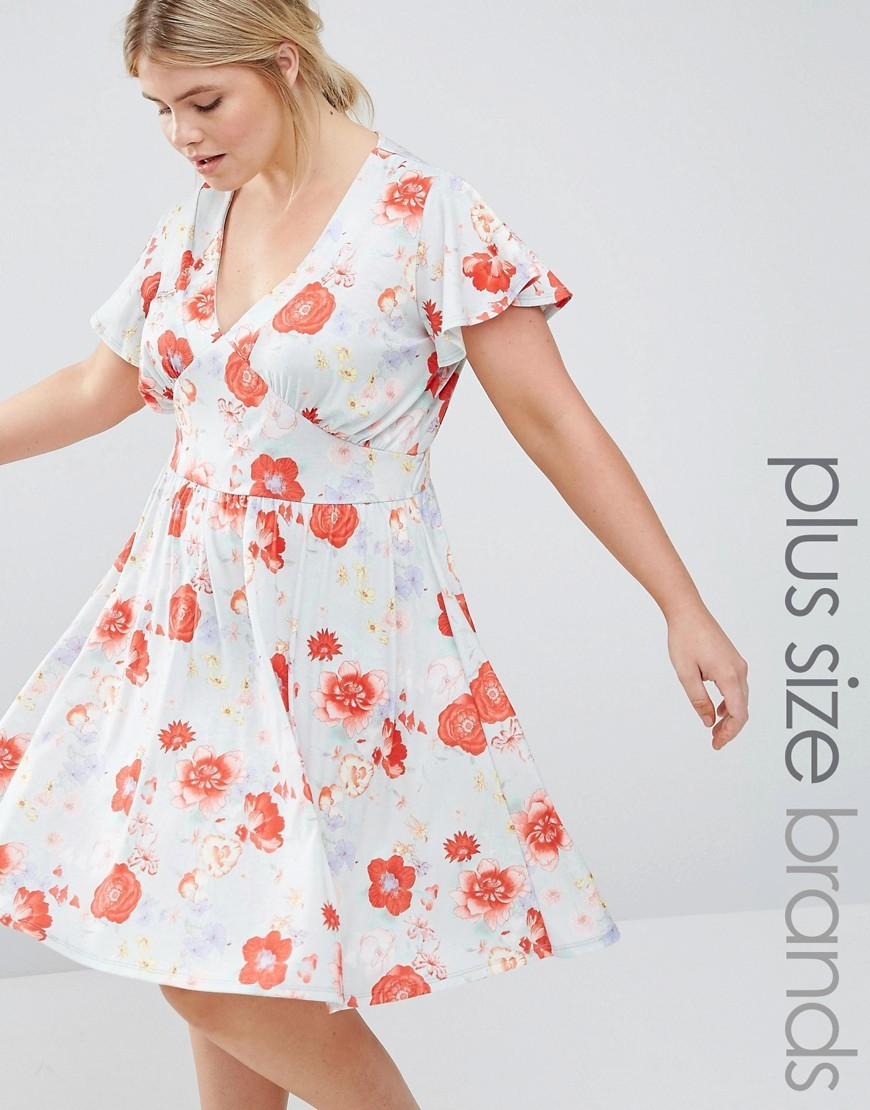 Floral Print Dress Blue - style: tea dress; neckline: low v-neck; predominant colour: white; secondary colour: bright orange; occasions: casual; length: on the knee; fit: body skimming; fibres: polyester/polyamide - stretch; sleeve length: short sleeve; sleeve style: standard; pattern type: fabric; pattern size: standard; pattern: florals; texture group: jersey - stretchy/drapey; multicoloured: multicoloured; season: s/s 2016; wardrobe: highlight