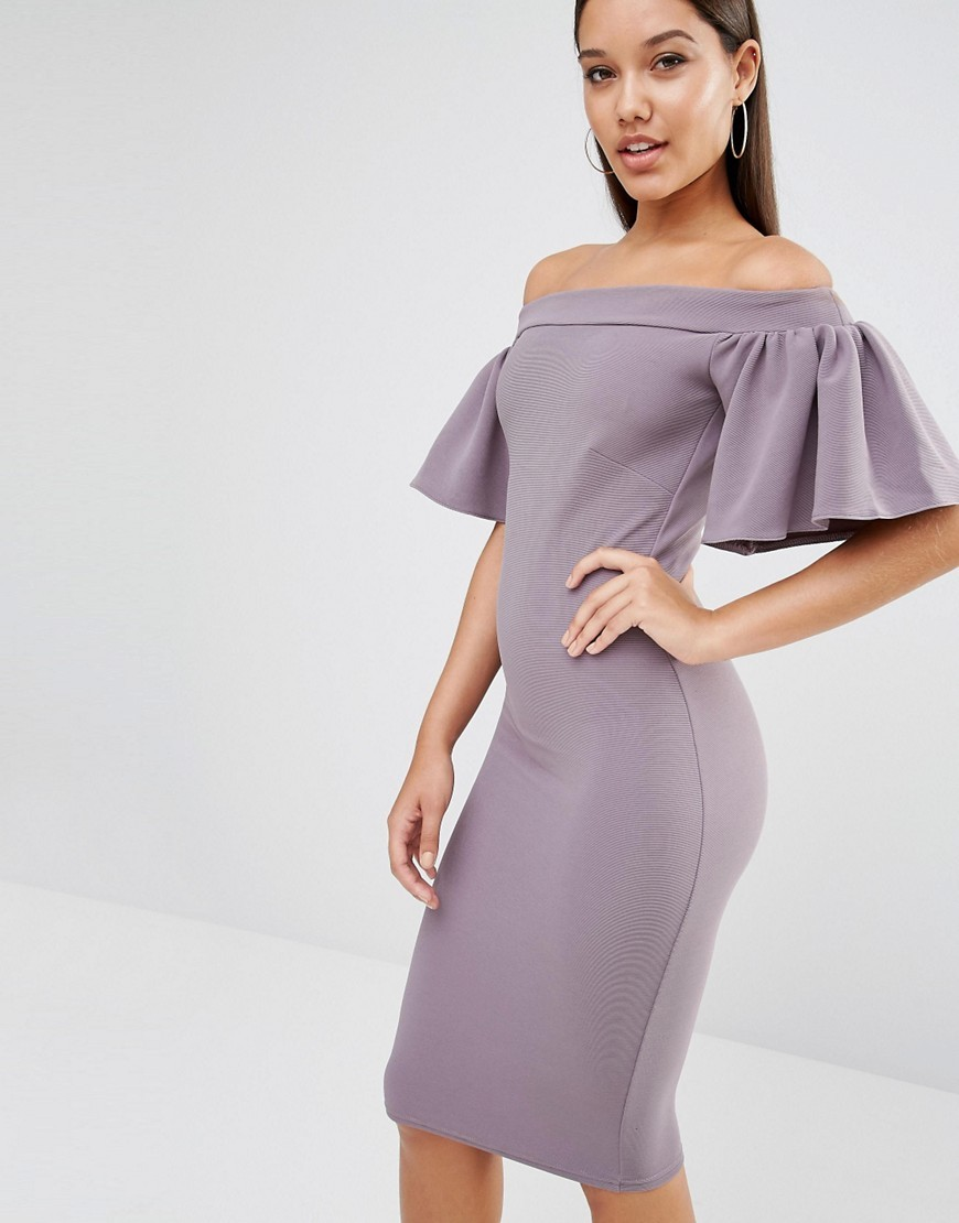 Midi Bardot Dress With Frill Grey - neckline: off the shoulder; sleeve style: puffed; fit: tight; pattern: plain; style: bodycon; predominant colour: mid grey; occasions: evening; length: on the knee; fibres: polyester/polyamide - stretch; sleeve length: short sleeve; texture group: jersey - clingy; pattern type: fabric; season: s/s 2016; wardrobe: event