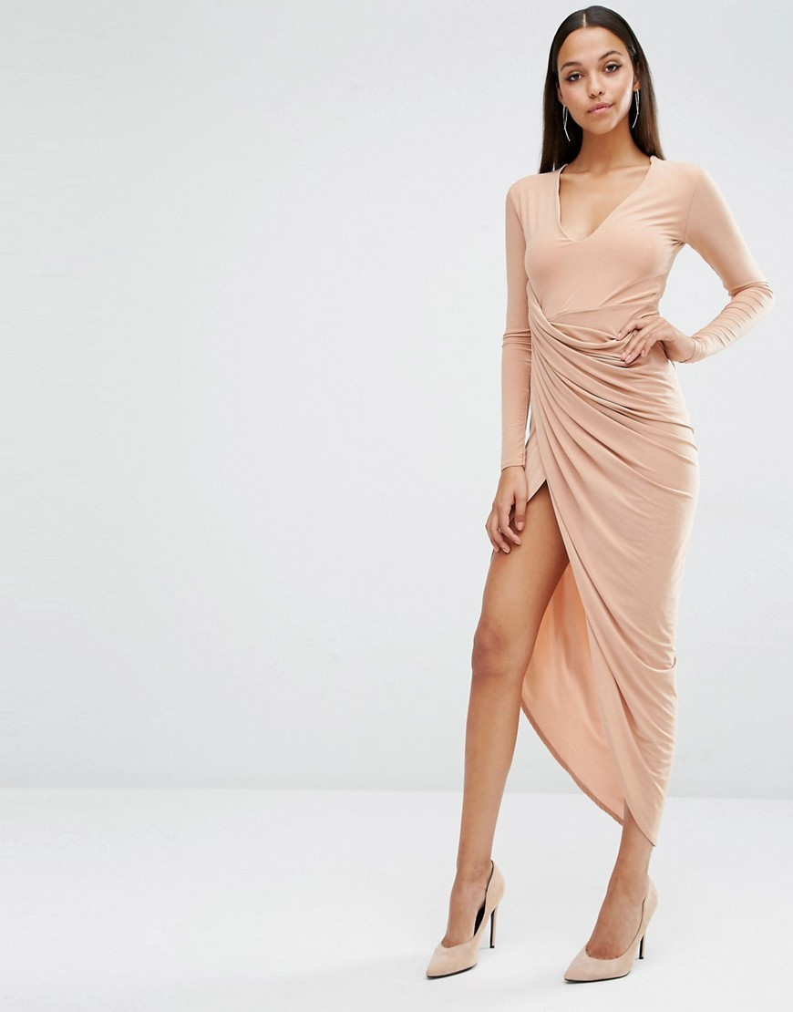 Plunge Neck Maxi Dress With Wrap Skirt Macaroon Caramel - style: faux wrap/wrap; length: calf length; neckline: low v-neck; pattern: plain; predominant colour: nude; occasions: evening; fit: body skimming; fibres: polyester/polyamide - stretch; hip detail: slits at hip; sleeve length: long sleeve; sleeve style: standard; pattern type: fabric; texture group: jersey - stretchy/drapey; season: s/s 2016; wardrobe: event