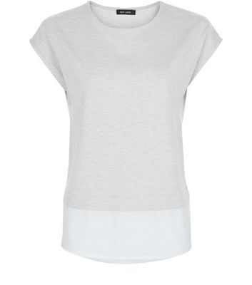 Pale Grey Layered T Shirt - sleeve style: capped; length: below the bottom; style: t-shirt; secondary colour: white; predominant colour: light grey; occasions: casual, creative work; fibres: polyester/polyamide - stretch; fit: body skimming; neckline: crew; sleeve length: short sleeve; pattern type: fabric; pattern: colourblock; texture group: jersey - stretchy/drapey; season: s/s 2016; wardrobe: highlight