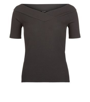 Black Wrap Bardot Neck Top - neckline: off the shoulder; pattern: plain; predominant colour: black; occasions: evening; length: standard; style: top; fibres: polyester/polyamide - stretch; fit: tight; sleeve length: short sleeve; sleeve style: standard; texture group: jersey - clingy; pattern type: fabric; season: s/s 2016; wardrobe: event