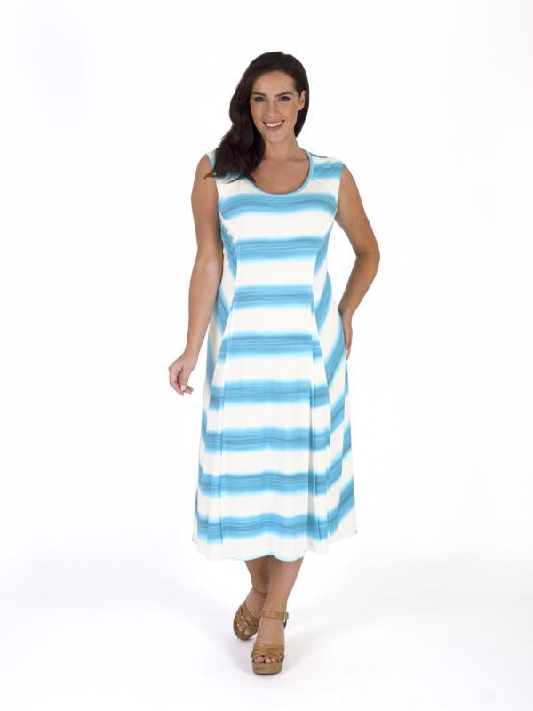White/Turquoise Ombre Stripe Chevron Jersey Dress - length: calf length; sleeve style: sleeveless; pattern: striped; predominant colour: white; secondary colour: diva blue; occasions: casual; fit: fitted at waist & bust; style: fit & flare; fibres: viscose/rayon - stretch; neckline: crew; sleeve length: sleeveless; pattern type: fabric; texture group: jersey - stretchy/drapey; multicoloured: multicoloured; season: s/s 2016; wardrobe: highlight