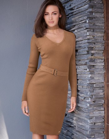 Love Michelle Keegan Detachable Neck Tie Choker Dress - style: jumper dress; neckline: v-neck; pattern: plain; waist detail: belted waist/tie at waist/drawstring; predominant colour: camel; occasions: casual; length: on the knee; fit: body skimming; sleeve length: long sleeve; sleeve style: standard; texture group: jersey - clingy; pattern type: fabric; fibres: viscose/rayon - mix; season: s/s 2016; wardrobe: basic