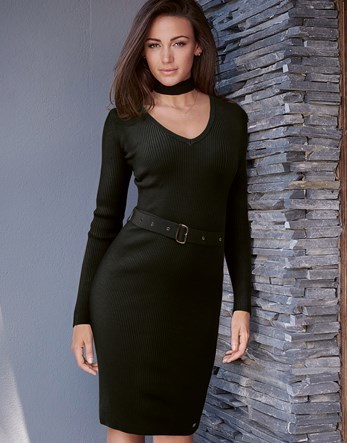 Love Michelle Keegan Detachable Neck Tie Choker Dress - length: below the knee; neckline: v-neck; fit: tight; pattern: plain; style: bodycon; waist detail: belted waist/tie at waist/drawstring; predominant colour: black; occasions: evening; sleeve length: long sleeve; sleeve style: standard; texture group: jersey - clingy; pattern type: fabric; fibres: viscose/rayon - mix; season: s/s 2016; wardrobe: event