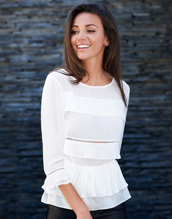 Love Michelle Keegan Frill Front Blouse - pattern: plain; style: blouse; predominant colour: white; occasions: evening; length: standard; fibres: polyester/polyamide - 100%; fit: body skimming; neckline: crew; sleeve length: 3/4 length; sleeve style: standard; texture group: sheer fabrics/chiffon/organza etc.; pattern type: fabric; season: s/s 2016; wardrobe: event