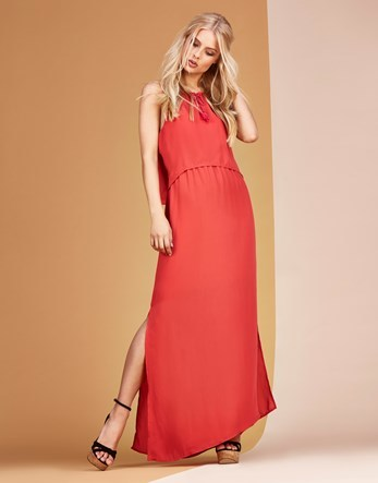 Cami Strap Maxi Dress - fit: loose; pattern: plain; sleeve style: sleeveless; style: maxi dress; length: ankle length; predominant colour: coral; occasions: evening; fibres: polyester/polyamide - 100%; neckline: crew; sleeve length: sleeveless; texture group: crepes; pattern type: fabric; season: s/s 2016; wardrobe: event