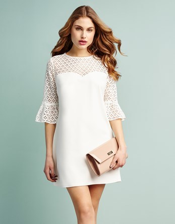 Geometric Lace Sleeve Shift Dress - style: shift; length: mid thigh; fit: tailored/fitted; pattern: plain; bust detail: sheer at bust; sleeve style: trumpet; predominant colour: white; occasions: evening; fibres: cotton - mix; neckline: crew; sleeve length: 3/4 length; texture group: crepes; pattern type: fabric; embellishment: lace; season: s/s 2016; wardrobe: event