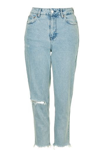 Moto Bleach Mom Jeans - pattern: plain; waist: high rise; pocket detail: traditional 5 pocket; style: tapered; predominant colour: pale blue; occasions: casual; length: ankle length; fibres: cotton - stretch; texture group: denim; pattern type: fabric; jeans detail: rips; season: s/s 2016; wardrobe: basic