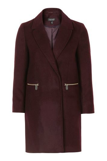 Slim Fit Boyfriend Coat - pattern: plain; style: single breasted; collar: standard lapel/rever collar; length: mid thigh; predominant colour: burgundy; occasions: casual, creative work; fit: tailored/fitted; fibres: polyester/polyamide - stretch; sleeve length: long sleeve; sleeve style: standard; collar break: medium; pattern type: fabric; texture group: woven bulky/heavy; embellishment: zips; trends: chic girl, tomboy girl; season: s/s 2016; wardrobe: highlight; embellishment location: hip