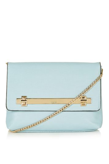 Solid Lock Cross Body Bag - predominant colour: pale blue; occasions: casual, creative work; type of pattern: standard; style: shoulder; length: shoulder (tucks under arm); size: small; material: faux leather; pattern: plain; finish: plain; season: s/s 2016; wardrobe: highlight