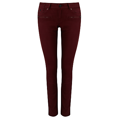 La Parisienne Mid Rise Skinny Jeans, Road Rush - style: skinny leg; length: standard; pattern: plain; waist: low rise; pocket detail: traditional 5 pocket; predominant colour: burgundy; occasions: casual; fibres: cotton - stretch; texture group: denim; pattern type: fabric; season: s/s 2016; wardrobe: highlight