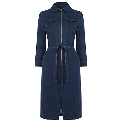 Zip Dress, Mid Wash Denim - style: shirt; neckline: shirt collar/peter pan/zip with opening; fit: tailored/fitted; pattern: plain; bust detail: pocket detail at bust; waist detail: belted waist/tie at waist/drawstring; predominant colour: navy; occasions: casual, creative work; length: on the knee; fibres: cotton - stretch; sleeve length: 3/4 length; sleeve style: standard; texture group: denim; pattern type: fabric; season: s/s 2016