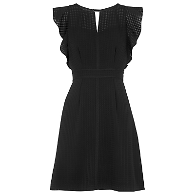 Frill Sleeve Dress, Black - length: mid thigh; sleeve style: capped; pattern: checked/gingham; predominant colour: black; fit: fitted at waist & bust; style: fit & flare; neckline: peep hole neckline; fibres: polyester/polyamide - 100%; occasions: occasion; hip detail: subtle/flattering hip detail; waist detail: feature waist detail; sleeve length: sleeveless; texture group: crepes; pattern type: fabric; pattern size: standard; season: s/s 2016; wardrobe: event
