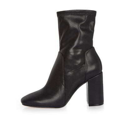 Womens Black Stretch Ankle Boots - predominant colour: black; material: leather; heel height: high; heel: block; toe: round toe; boot length: ankle boot; style: standard; finish: plain; pattern: plain; occasions: creative work; season: s/s 2016; wardrobe: highlight