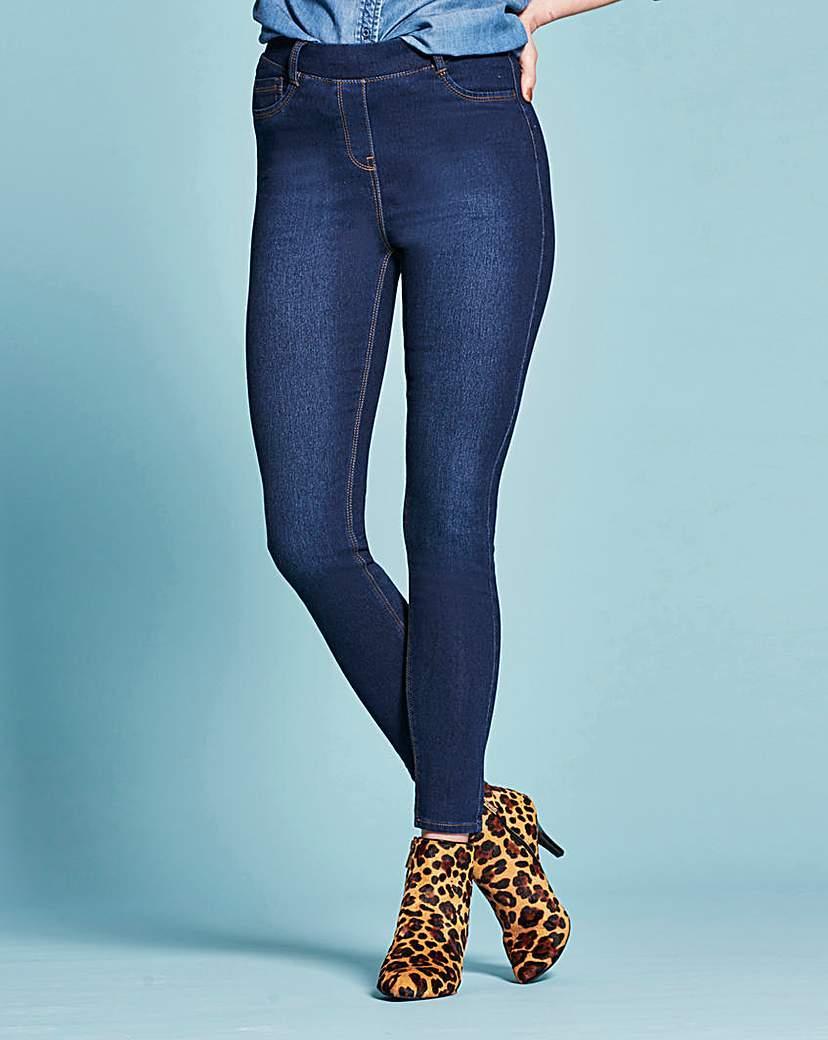 Amber Pull On Skinny Jeggings Regular - style: skinny leg; length: standard; pattern: plain; waist: mid/regular rise; predominant colour: navy; occasions: casual; fibres: cotton - stretch; texture group: denim; pattern type: fabric; season: s/s 2016; wardrobe: basic