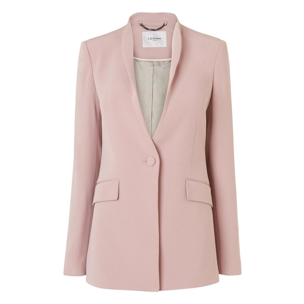 Arya Longline Tailored Jacket Pink Mink Pink - pattern: plain; style: single breasted blazer; collar: standard lapel/rever collar; predominant colour: blush; occasions: casual, work, creative work; length: standard; fit: tailored/fitted; fibres: polyester/polyamide - mix; sleeve length: long sleeve; sleeve style: standard; collar break: medium; pattern type: fabric; texture group: woven light midweight; season: s/s 2016; wardrobe: basic