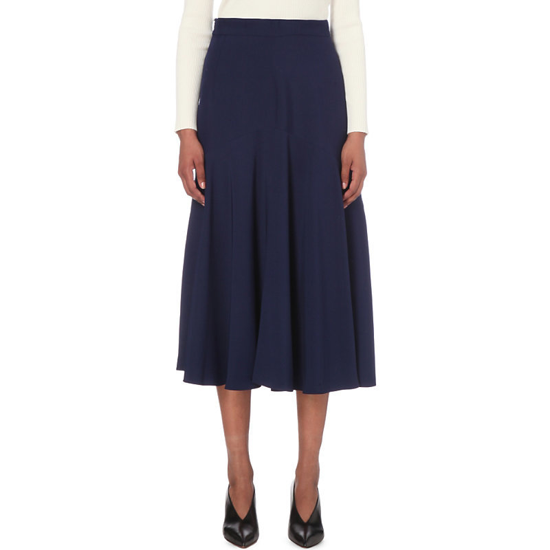 Rucola Crepe Skirt, Women's, Light Sky Blue/White - length: calf length; pattern: plain; fit: loose/voluminous; style: pleated; waist: mid/regular rise; predominant colour: navy; occasions: evening; fibres: viscose/rayon - 100%; texture group: crepes; pattern type: fabric; season: s/s 2016