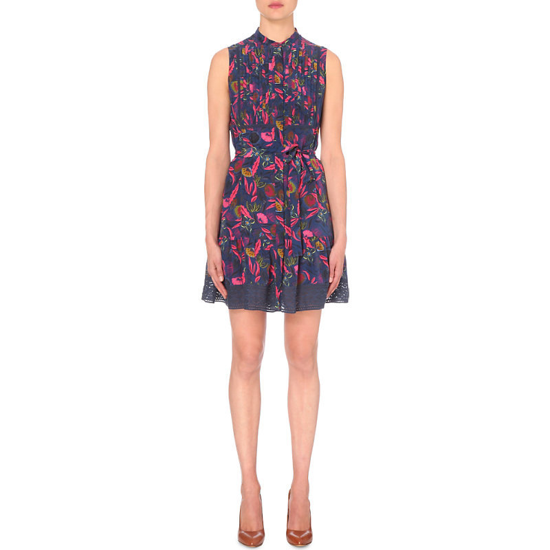 Tilley Stretch Jersey Dress, Women's, Rasberry Eden - sleeve style: sleeveless; secondary colour: hot pink; predominant colour: navy; occasions: evening; length: just above the knee; fit: fitted at waist & bust; style: fit & flare; neckline: collarstand; fibres: silk - 100%; waist detail: feature waist detail; sleeve length: sleeveless; pattern type: fabric; pattern: patterned/print; texture group: woven light midweight; multicoloured: multicoloured; season: s/s 2016; wardrobe: event