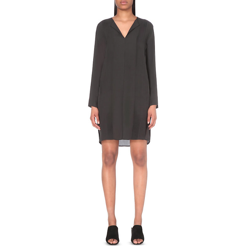 Panelled Silk Dress, Women's, Black - style: shift; neckline: v-neck; pattern: plain; predominant colour: black; occasions: evening; length: just above the knee; fit: body skimming; fibres: silk - 100%; sleeve length: long sleeve; sleeve style: standard; texture group: sheer fabrics/chiffon/organza etc.; pattern type: fabric; season: s/s 2016; wardrobe: event