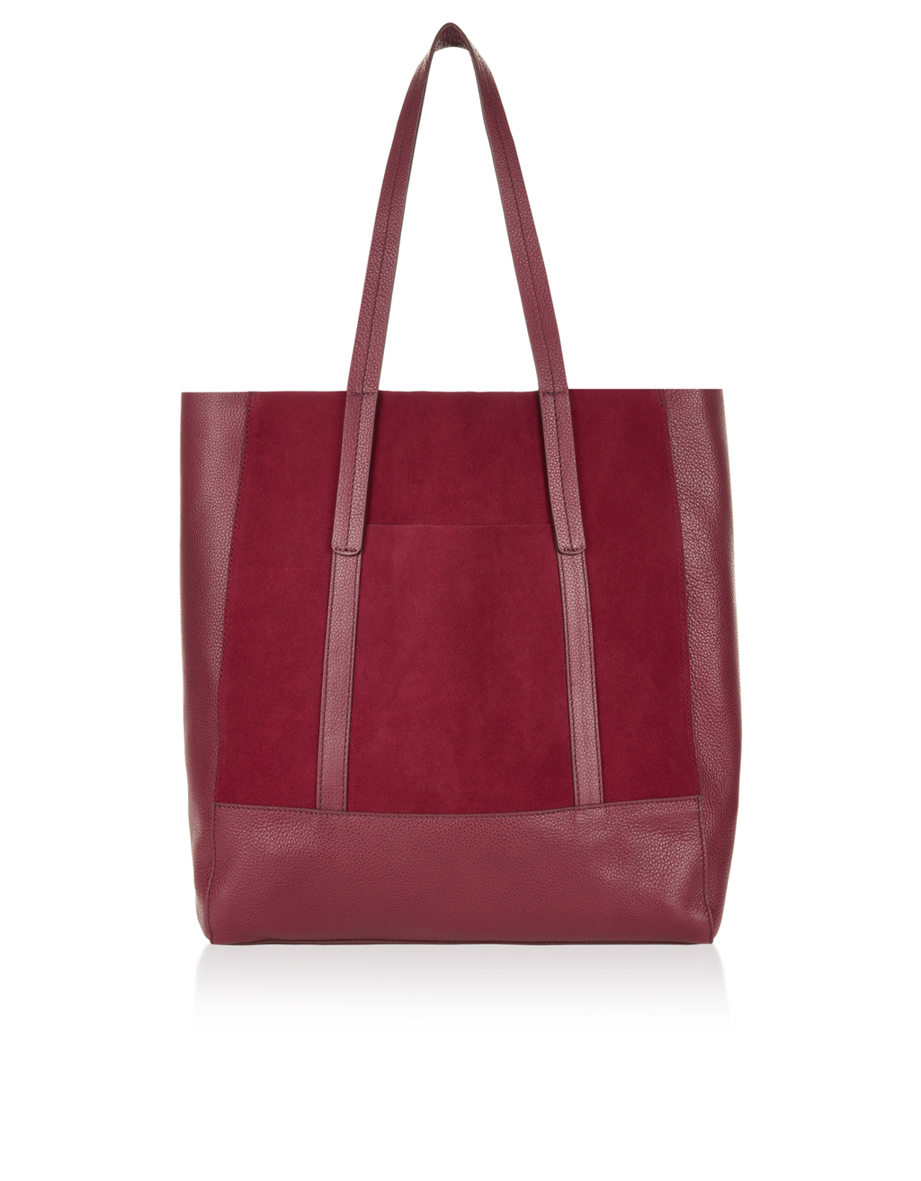 Carina Suede & Leather Shopper Bag - occasions: casual, creative work; type of pattern: standard; style: tote; length: handle; size: oversized; material: leather; pattern: plain; finish: plain; predominant colour: raspberry; season: s/s 2016