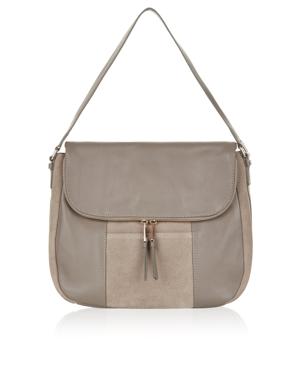Calypso Suede And Leather Shoulder Bag - predominant colour: taupe; occasions: casual, creative work; type of pattern: standard; style: shoulder; length: shoulder (tucks under arm); size: standard; material: leather; embellishment: tassels; pattern: plain; finish: plain; season: s/s 2016; wardrobe: investment