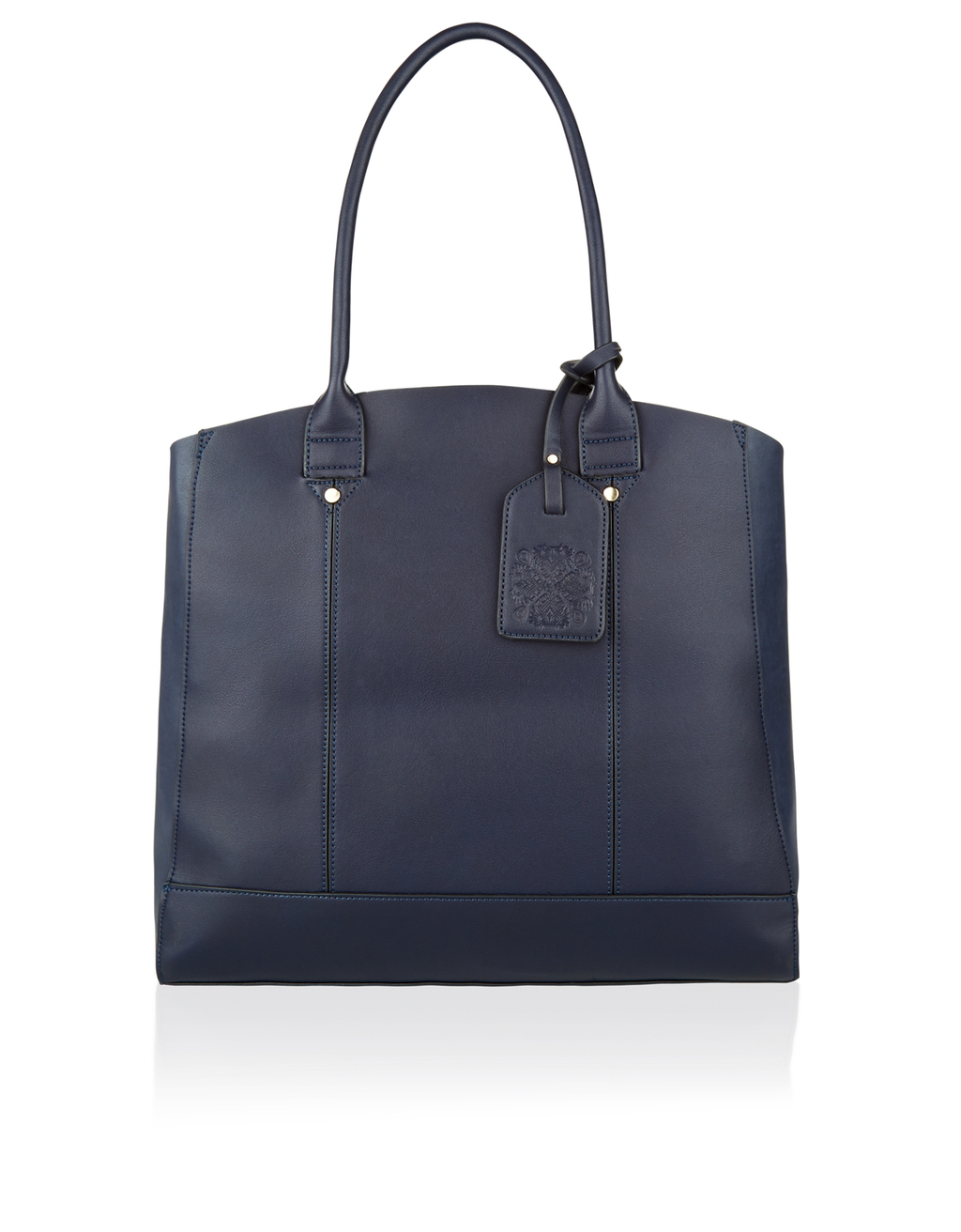 Pandora Structred Shopper Bag - predominant colour: navy; occasions: casual, work, creative work; type of pattern: standard; style: tote; length: hand carry; size: oversized; material: faux leather; pattern: plain; finish: plain; season: s/s 2016; wardrobe: investment