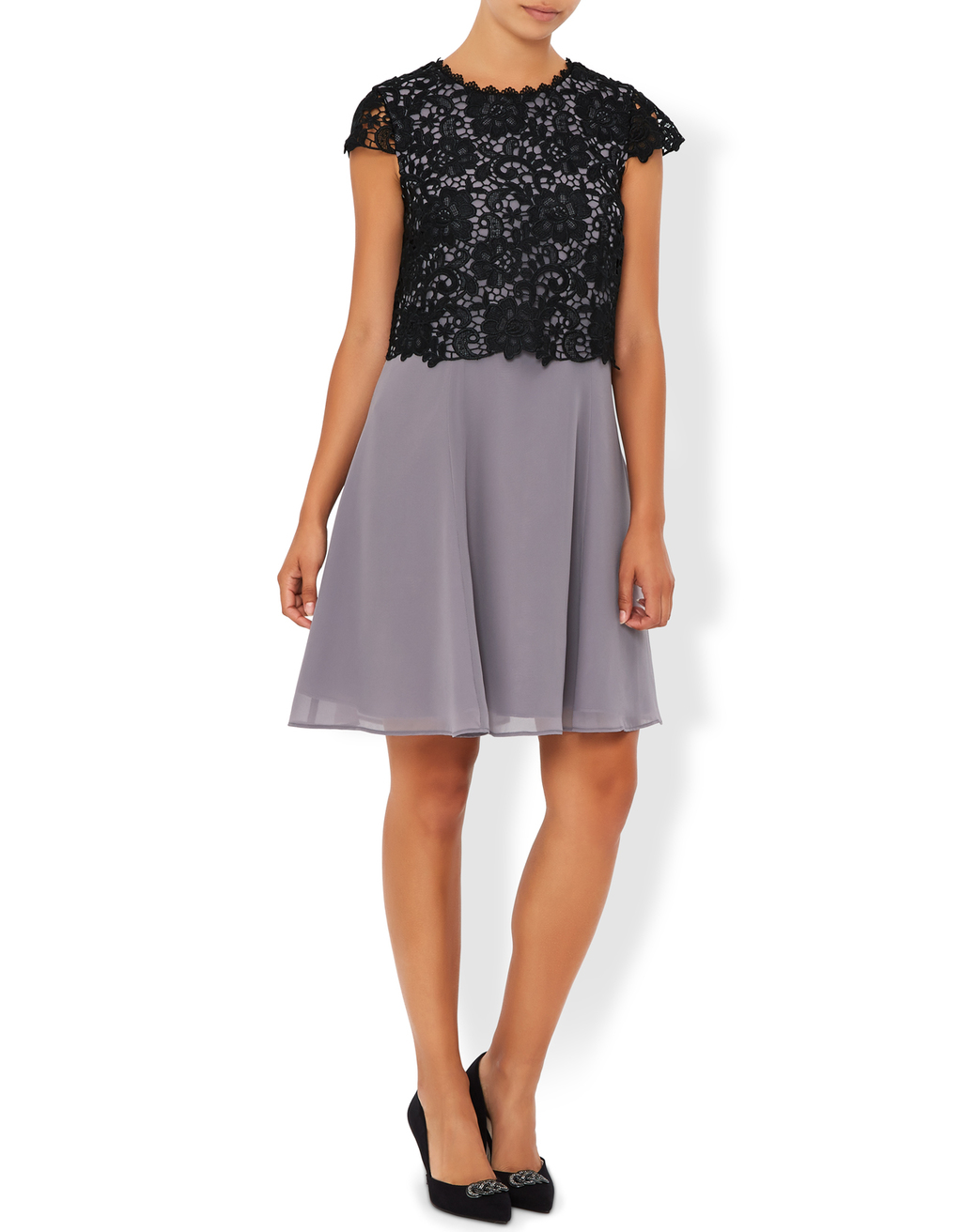 Jasper Dress - sleeve style: capped; secondary colour: lilac; predominant colour: black; occasions: evening; length: just above the knee; fit: fitted at waist & bust; style: fit & flare; fibres: polyester/polyamide - 100%; neckline: crew; sleeve length: short sleeve; texture group: lace; pattern type: fabric; pattern size: light/subtle; pattern: patterned/print; embellishment: lace; multicoloured: multicoloured; season: s/s 2016