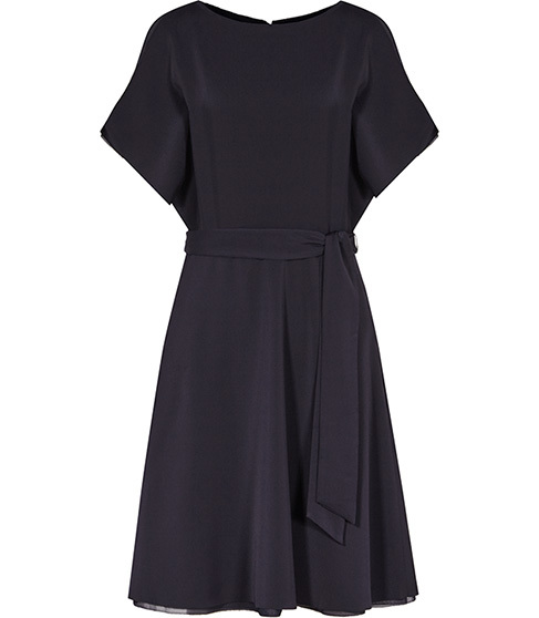 Hermione Cut Away Shoulder Dress - pattern: plain; waist detail: belted waist/tie at waist/drawstring; predominant colour: black; occasions: evening; length: on the knee; fit: fitted at waist & bust; style: fit & flare; fibres: polyester/polyamide - 100%; neckline: crew; sleeve length: short sleeve; sleeve style: standard; pattern type: fabric; texture group: other - light to midweight; season: s/s 2016; wardrobe: event