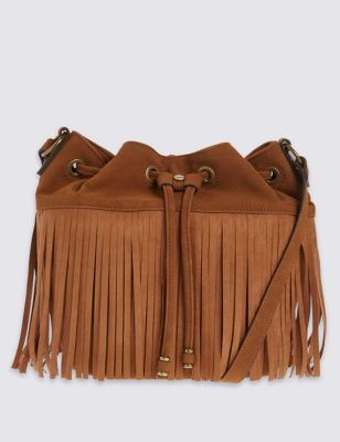 Faux Leather Fringed Bucket Duffle Bag - predominant colour: tan; occasions: casual, creative work; type of pattern: standard; style: onion bag; length: shoulder (tucks under arm); size: standard; material: faux leather; embellishment: tassels; pattern: plain; finish: plain; season: s/s 2016; wardrobe: highlight; trends: romantic explorer