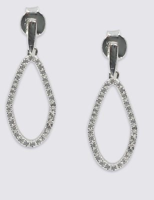 Sterling Silver Organic Shape Earrings - predominant colour: silver; occasions: evening; style: hoop; length: long; size: standard; material: chain/metal; fastening: pierced; finish: metallic; embellishment: crystals/glass; season: s/s 2016; wardrobe: event