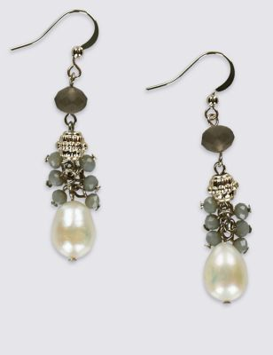 Cluster Pearl Earrings - secondary colour: ivory/cream; predominant colour: gold; occasions: evening; style: drop; length: mid; size: standard; material: chain/metal; fastening: pierced; finish: metallic; embellishment: jewels/stone; season: s/s 2016