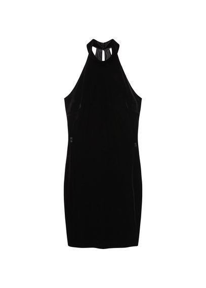 Halter Velvet Dress - length: mid thigh; fit: tight; pattern: plain; sleeve style: sleeveless; style: bodycon; predominant colour: black; occasions: evening; fibres: polyester/polyamide - stretch; sleeve length: sleeveless; pattern type: fabric; texture group: velvet/fabrics with pile; season: s/s 2016; neckline: high halter neck; wardrobe: event