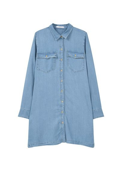 Soft Shirt Dress - style: shirt; neckline: shirt collar/peter pan/zip with opening; pattern: plain; predominant colour: pale blue; occasions: casual; length: just above the knee; fit: body skimming; fibres: viscose/rayon - 100%; sleeve length: long sleeve; sleeve style: standard; texture group: denim; pattern type: fabric; season: s/s 2016; wardrobe: basic