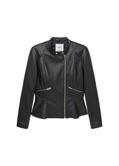 Zipped Biker Jacket - pattern: plain; style: biker; collar: funnel; predominant colour: black; occasions: casual; length: standard; fit: tailored/fitted; sleeve length: long sleeve; sleeve style: standard; texture group: leather; collar break: high; pattern type: fabric; fibres: pvc/polyurethene - mix; season: s/s 2016; wardrobe: basic