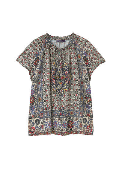 Flowy Printed Blouse - style: blouse; secondary colour: ivory/cream; predominant colour: navy; occasions: casual; length: standard; fibres: polyester/polyamide - 100%; fit: body skimming; neckline: crew; sleeve length: short sleeve; sleeve style: standard; pattern type: fabric; pattern size: standard; pattern: patterned/print; texture group: other - light to midweight; multicoloured: multicoloured; season: s/s 2016; wardrobe: highlight