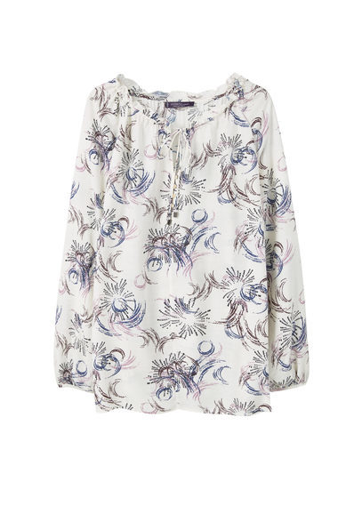 Flowy Printed Blouse - neckline: round neck; length: below the bottom; style: blouse; predominant colour: ivory/cream; secondary colour: denim; occasions: casual, creative work; fibres: cotton - 100%; fit: body skimming; sleeve length: long sleeve; sleeve style: standard; pattern type: fabric; pattern size: standard; pattern: patterned/print; texture group: other - light to midweight; season: s/s 2016