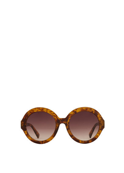 Tortoiseshell Retro Sunglasses - predominant colour: tan; occasions: casual, holiday; style: round; size: large; material: plastic/rubber; pattern: tortoiseshell; finish: plain; season: s/s 2016; wardrobe: highlight
