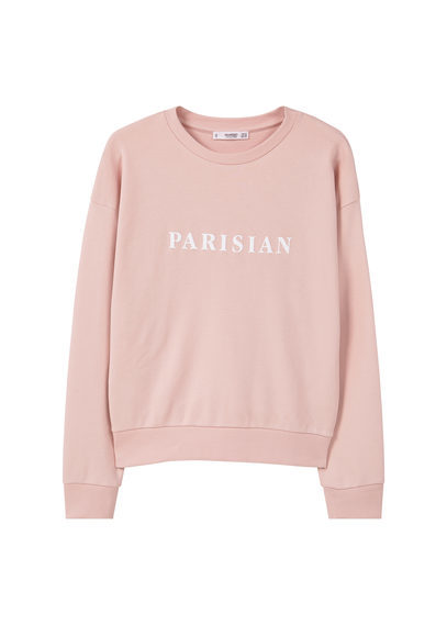 Message Cotton Sweatshirt - style: sweat top; predominant colour: blush; occasions: casual; length: standard; fibres: cotton - 100%; fit: body skimming; neckline: crew; sleeve length: long sleeve; sleeve style: standard; pattern type: fabric; texture group: jersey - stretchy/drapey; pattern: graphic/slogan; season: s/s 2016; wardrobe: highlight