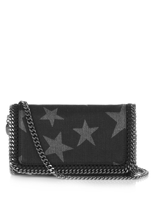Falabella Star Print Denim Cross Body Bag - predominant colour: black; occasions: casual, creative work; type of pattern: standard; style: messenger; length: across body/long; size: small; material: leather; finish: plain; pattern: patterned/print; embellishment: chain/metal; season: s/s 2016; wardrobe: highlight