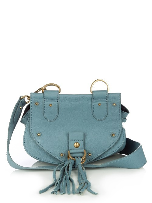 Collins Mini Suede Cross Body Bag - predominant colour: denim; occasions: casual, creative work; type of pattern: standard; style: saddle; length: across body/long; size: mini; material: suede; embellishment: tassels; pattern: plain; finish: plain; season: s/s 2016; wardrobe: highlight