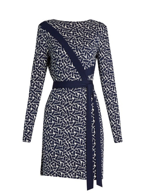 Vienna Dress - style: shift; waist detail: belted waist/tie at waist/drawstring; secondary colour: white; predominant colour: navy; occasions: evening; length: just above the knee; fit: body skimming; fibres: silk - 100%; neckline: crew; sleeve length: long sleeve; sleeve style: standard; pattern type: fabric; pattern: patterned/print; texture group: jersey - stretchy/drapey; multicoloured: multicoloured; season: s/s 2016; wardrobe: event