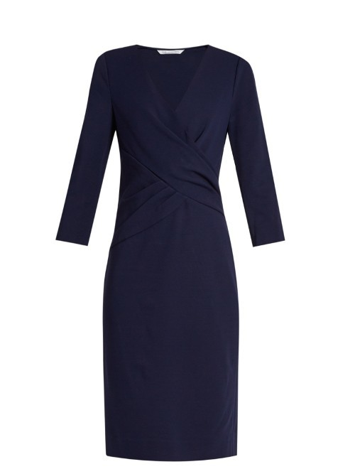 Leora Dress - style: faux wrap/wrap; neckline: v-neck; pattern: plain; predominant colour: navy; occasions: evening; length: on the knee; fit: body skimming; fibres: viscose/rayon - stretch; sleeve length: 3/4 length; sleeve style: standard; pattern type: fabric; texture group: jersey - stretchy/drapey; season: s/s 2016; wardrobe: event