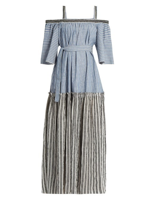 Mara Cotton Blend Maxi Dress - style: maxi dress; pattern: striped; length: ankle length; waist detail: belted waist/tie at waist/drawstring; predominant colour: pale blue; secondary colour: mid grey; occasions: casual; fit: body skimming; fibres: polyester/polyamide - 100%; shoulder detail: cut out shoulder; sleeve length: half sleeve; sleeve style: standard; texture group: cotton feel fabrics; neckline: medium square neck; pattern type: fabric; multicoloured: multicoloured; season: s/s 2016
