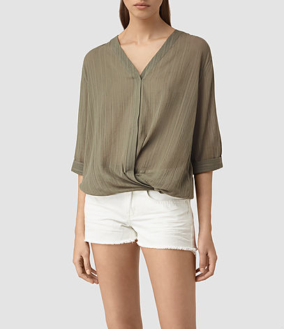 Wairyn Shirt - neckline: low v-neck; pattern: plain; style: shirt; predominant colour: khaki; occasions: work; length: standard; fibres: silk - mix; fit: loose; sleeve length: 3/4 length; sleeve style: standard; texture group: silky - light; pattern type: fabric; season: s/s 2016; wardrobe: basic